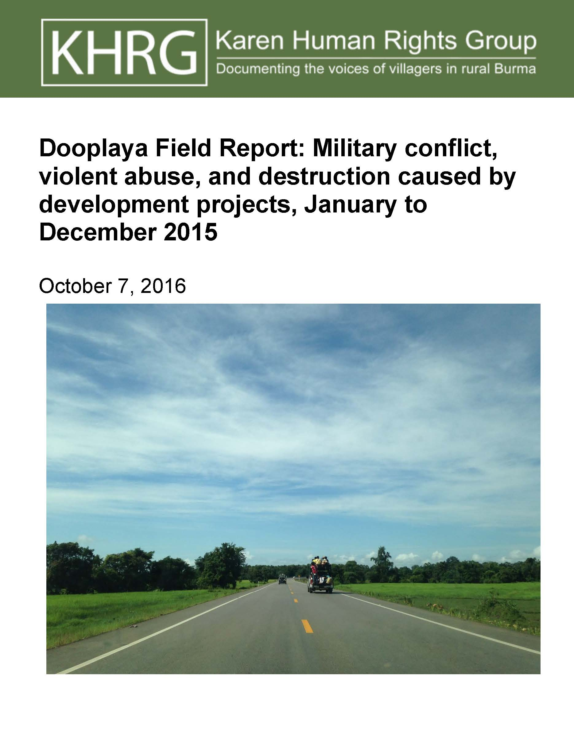 Dooplaya Field Report: Military conflict, violent abuse, and